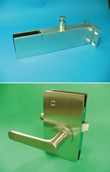 同社の製造するガラス扉用コーナーフレームとセンターロック