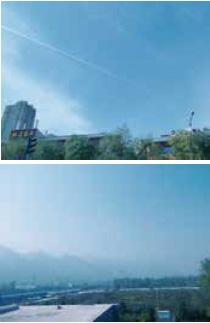 飛行機雲も美しい青空の日(上)と残念な日の空の写真(下)
