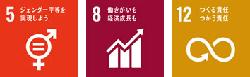 SDGs:5ジェンダー平等を実現しよう 8働きがいも経済成長も 12つくる責任つかう責任