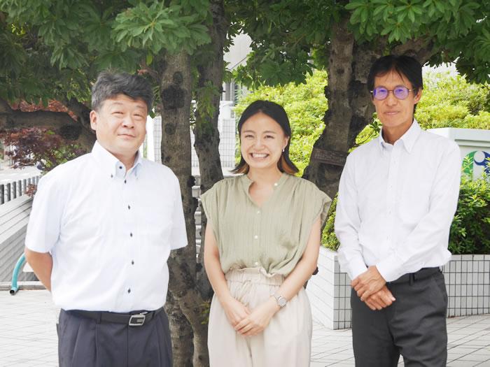 左:兵頭孝之です。(7月1日付、ダイキン工業株式会社から出向) 中央:佐賀千紘です。(4月13日付、入局) 右:武谷進です。(6月1日付、株式会社クボタから出向)